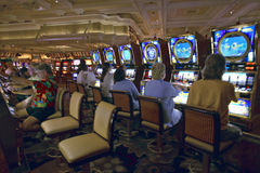 Slot machines in gambling casino in Las Vegas, NV Royalty Free Stock Photo