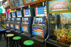 Slot Machines at the Jersey Shore. Slot machines in an arcade at the New Jersey seashore Royalty Free Stock Image