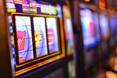 Slot machines in Las Vegas. Slot machines and gambling addiction in Las Vegas stock images