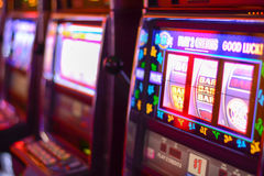 Slot machines in Las Vegas. Slot machines and gambling addiction in Las Vegas royalty free stock photos