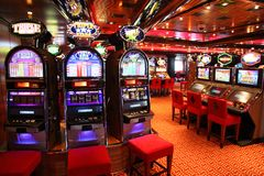Slot machines in play room Stock Photo