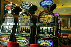 Slot Macihnes. Examples of slot machines for gambling, also known as one armed bandits Royalty Free Stock Image