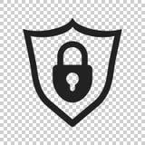 Slot met het pictogram van de schildveiligheid Vectorillustratie op geïsoleerd Royalty-vrije Stock Foto's