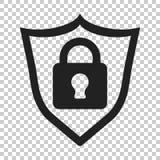 Slot met het pictogram van de schildveiligheid Vectorillustratie op geïsoleerd Stock Foto