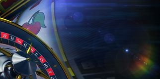 Slot and Roulette Banner. Background. Casino Concept 3D Render Illustration with Copy Space Stock Photography
