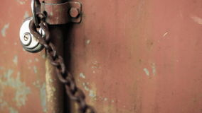 Slot Rusty Chain Red Container Background stock video