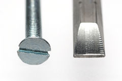 Sloted screw with screwdriver bit Stock Photography
