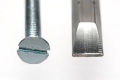 Sloted screw with screwdriver bit. Macro picture of sloted screw (M3) with screwdriver bit Stock Photography