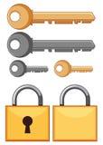 Sloten en sleutels op witte achtergrond royalty-vrije illustratie
