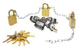 Sloten met ketting en sleutels Stock Afbeelding