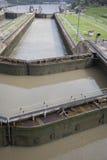 Sloten op het Kanaal van Panama Stock Foto's