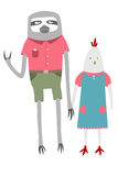 Sloth and chicken. In clothes holding hands Royalty Free Stock Photo