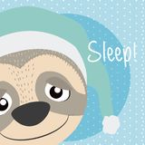 Sloth Cute animal cartoon. Raccoon cute cartoon on white and pink colors with floral background vector illustration Royalty Free Stock Photography