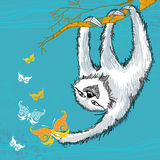Sloth with decorative butterflies Royalty Free Stock Photography
