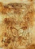 sloth El Acedia latino de la palabra significa la desesperación Concepto de siete pecados mortales en viejo fondo de papel ilustración del vector