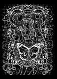 sloth El Acedia latino de la palabra significa la desesperación Concepto de siete pecados mortales, silueta blanca en fondo negro ilustración del vector