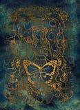 sloth El Acedia latino de la palabra significa la desesperación Siete pecados mortales concepto, silueta del oro en fondo azul ilustración del vector