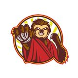 Sloth Fighter Self Defense Circle Mascot. Icon style illustration of a mascot of a Sloth Fighter Self Defense punching fighting viewed from front set inside Stock Image