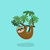Sloth hanging on tree branch . Cute cartoon character. Wild jungle animal collection. Baby education. Isolated. Flat Stock Photography