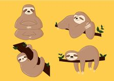 Sloth Poses Cartoon Vector Illustration. Cute for print Royalty Free Stock Photo