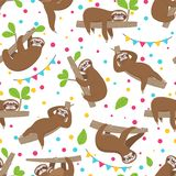 Sloth seamless pattern. Relaxing sloths on jungle summer forest brunches. Adorable girl baby texture vector illustration
