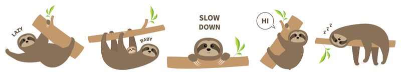 Sloth set line icon. Mother with baby. Cute lazy cartoon kawaii character. Slow down text. Tree branch Wild joungle animal vector illustration