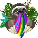 Sloth Spitting Rainbow Colors Stock Images