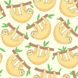 Sloth on tree branch seamless pattern Stock Photography