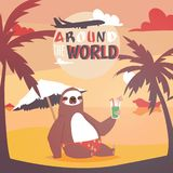 Sloth on vacation background. Animal who likes travelling poster. Passive rest on beach. Drinkng coctail and relaxing. Sloth on vacation background. Cute animal stock illustration