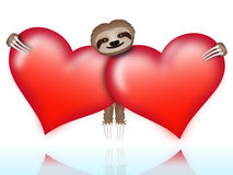 Sloth on Valentines Day Royalty Free Stock Photography