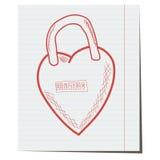 Slotidentiteitskaart in de vorm van een hart, hand-drawn Royalty-vrije Stock Afbeelding