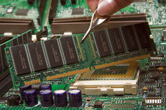 Slots. Motherboard being assembled Royalty Free Stock Photos