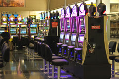 Slots in the airport McCarran  in Las Vegas, Nevada Royalty Free Stock Images