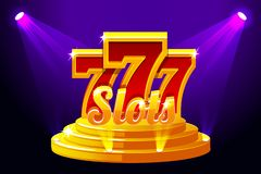 Slots 777 Banner Casino on Stage Podium. Vector illustration for casino, slots, roulette and UI. Icons and text on. Slots 777 Banner Casino on Stage Podium royalty free illustration