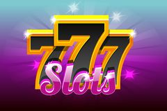 Slots 777 Banner Casino. Vector illustration for casino, slots, roulette and UI. Icons and text on separate layers. Slots 777 Banner Casino. Vector illustration royalty free illustration
