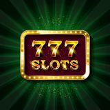 777 slots banner text. Against the backdrop of bright rays. Vector illustration royalty free illustration
