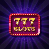 777 slots banner text. Against the backdrop of bright rays. Vector illustration stock illustration