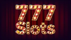 777 slots Banner Vector. Casino Vintage Style Illuminated Light. For Advertising Design. Classic Illustration stock illustration