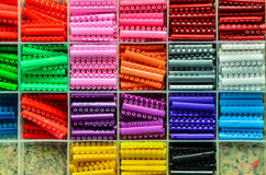 Slots of brackets in different colors Royalty Free Stock Image