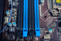 Slots on a computer motherboard Royalty Free Stock Photo