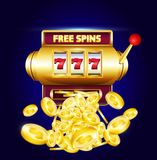 777 slots 3d machine with big win coins and inscription. `free spins`. Lucky sevens jackpot poster for casino on blue background with coins. Vector illustration vector illustration