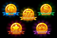 Slots icons, golden collections wild, bonus, scatter and winner symbols. For game, user interface, application. Interface, slots, game development. Icons on a royalty free illustration