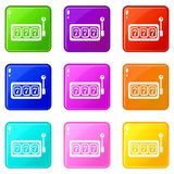 Slots icons set 9 color collection. Isolated on white for any design vector illustration