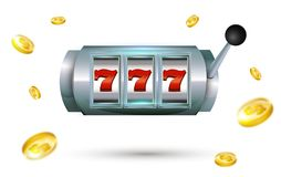 777 slots Lucky seven casino machine with gold coins isolated on. White background. Slot machine with jackpot. Vector illustration stock illustration