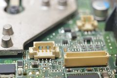 Slots on motherboard. (microcircuit) with microchip and radiators Stock Image