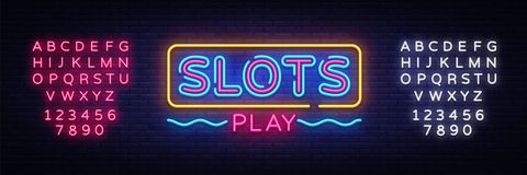 Slots Play neon sign vector. Slot Machine Design template neon sign, light banner, neon signboard, nightly bright vector illustration