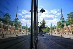 Slotsholmen, vue avec la réflexion de fenêtre sur un vieux Sto célèbre Image libre de droits