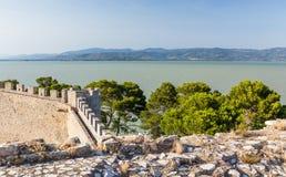 Slott av Castiglione del lago, Trasimeno, Italien Royaltyfri Fotografi