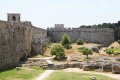 Slott av den storslagna förlagen av riddarna av Rhodes, Grekland Arkivfoto