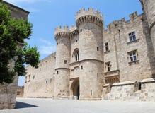 Slott av den storslagna förlagen av riddarna av Rhodes, Grekland Royaltyfri Bild